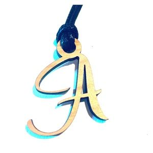 "Jewelry Initial Laser Pendant Necklace ""A"""